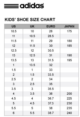 Adidas Toddler Shoe Size Chart Inches Cm Guide Wide Soccer