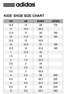 Adidas Kids shoe size chart